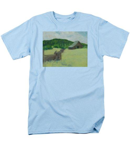 Rural Landscape Colorful Oil Painting Barn Fence Men's T-Shirt  (Regular Fit) by Elizabeth Sawyer