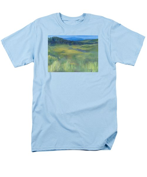 Rural Valley Landscape Colorful Original Painting Washington State Water Mountains K. Joann Russell Men's T-Shirt  (Regular Fit) by Elizabeth Sawyer