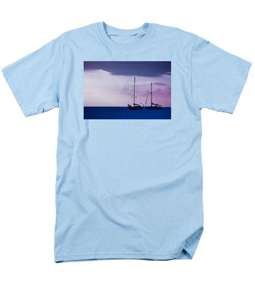 Men's T-Shirt  (Regular Fit) featuring the photograph Sailboats At Sunset by Don Schwartz