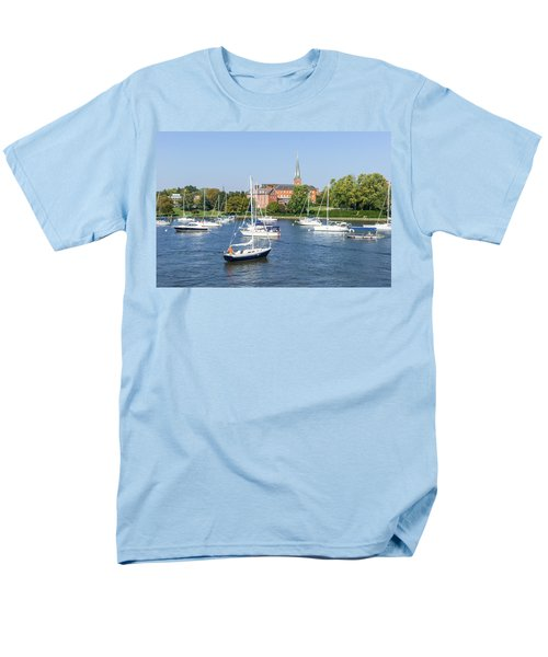 Men's T-Shirt  (Regular Fit) featuring the photograph Sailboats By Charles Carroll House by Charles Kraus