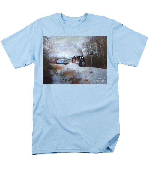 Men's T-Shirt  (Regular Fit) featuring the digital art Santa Train - Waterloo Central Railway No Text by Lianne Schneider