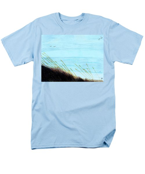 Men's T-Shirt  (Regular Fit) featuring the drawing Sea Oats In The Wind Drawing by D Hackett