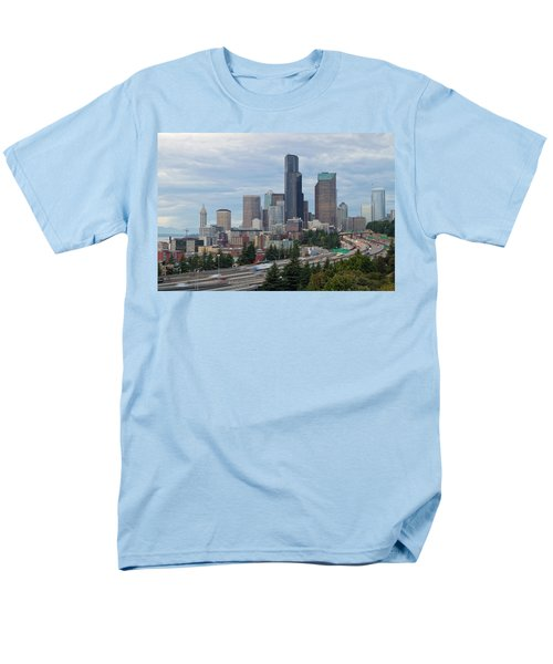 Men's T-Shirt  (Regular Fit) featuring the photograph Seattle Downtown Skyline On A Cloudy Day by JPLDesigns