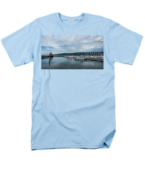 Seneca Lake Harbor - Watkins Glen - Wide Angle Men's T-Shirt  (Regular Fit) by Photographic Arts And Design Studio