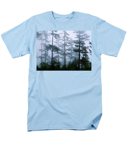 Silhouette Of Trees With Fog Men's T-Shirt  (Regular Fit) by Panoramic Images