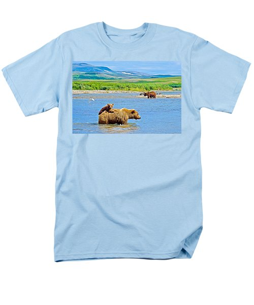 Six-month-old Cub Riding On Mom's Back To Cross Moraine River In Katmai National Preserve-alaska Men's T-Shirt  (Regular Fit) by Ruth Hager