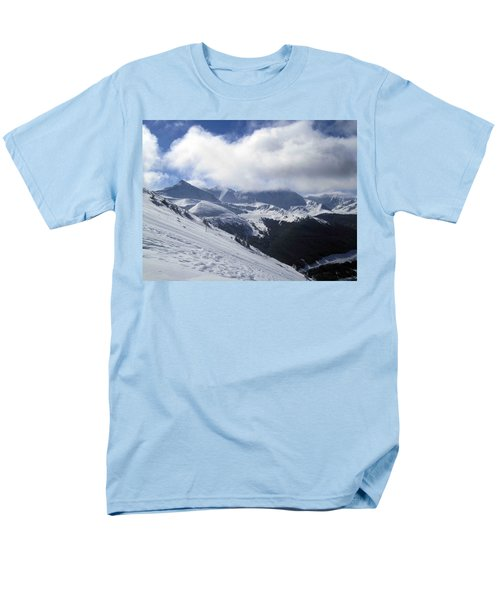 Skiing With A View Men's T-Shirt  (Regular Fit) by Fiona Kennard