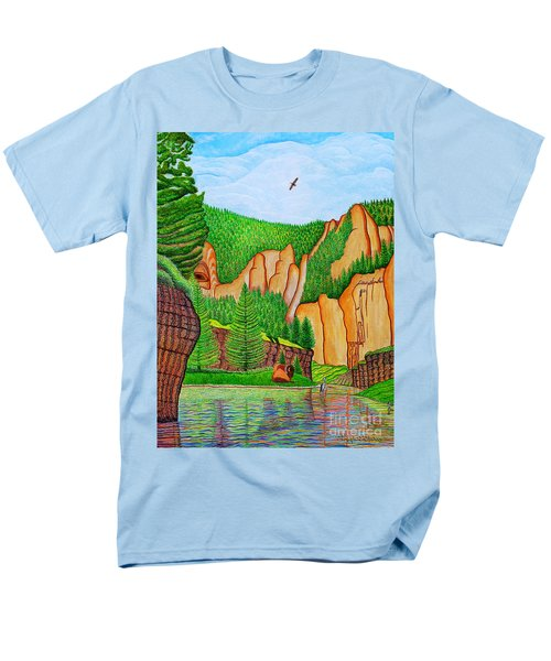 Men's T-Shirt  (Regular Fit) featuring the painting Smith River Montana by Joseph J Stevens