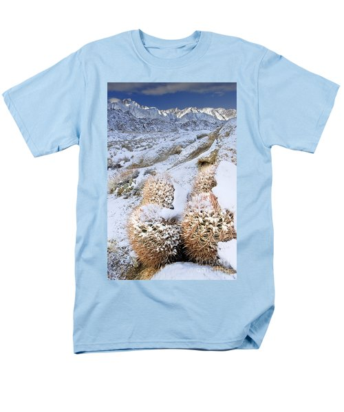 Men's T-Shirt  (Regular Fit) featuring the photograph Snow Covered Cactus Below Mount Whitney Eastern Sierras by Dave Welling