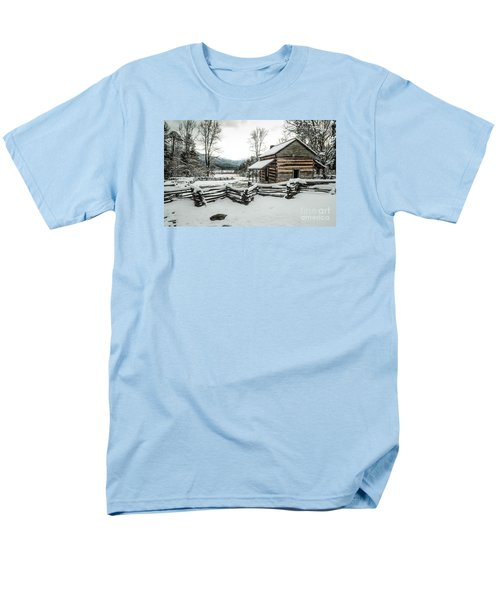 Men's T-Shirt  (Regular Fit) featuring the photograph Snowy Log Cabin by Debbie Green