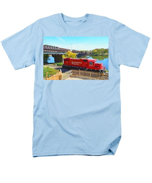 Solo Red Canadian Pacific Engine Along Rock River In Rockford Men's T-Shirt  (Regular Fit) by Jeff at JSJ Photography