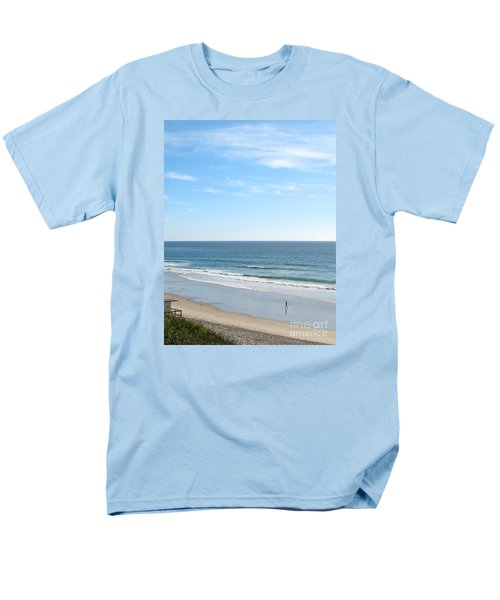 Men's T-Shirt  (Regular Fit) featuring the photograph Solo Walk On Southern California Beach by Connie Fox