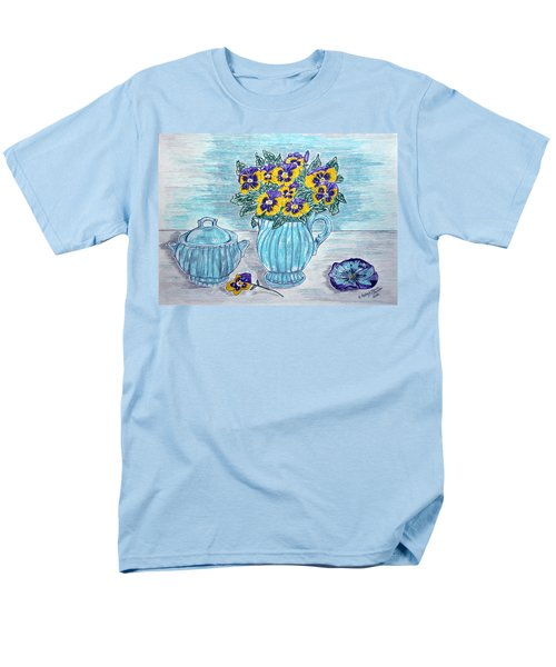 Men's T-Shirt  (Regular Fit) featuring the painting Stangl Pottery And Pansies by Kathy Marrs Chandler