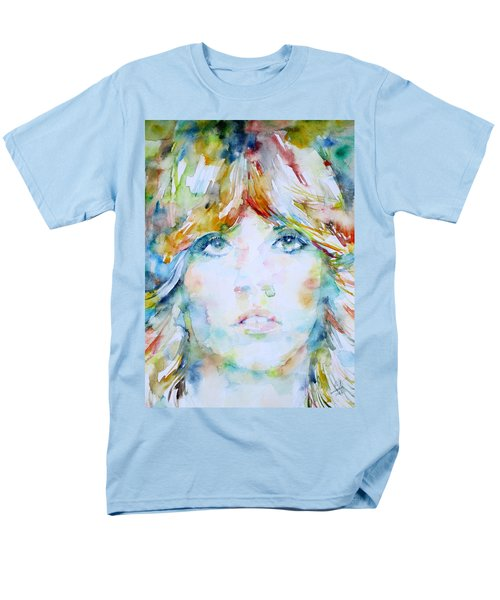 Stevie Nicks - Watercolor Portrait Men's T-Shirt  (Regular Fit) by Fabrizio Cassetta