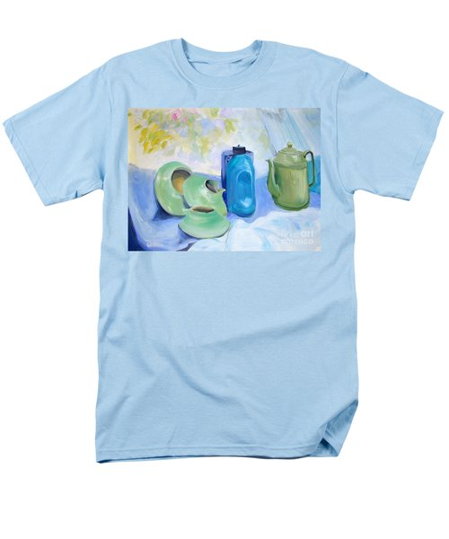 Men's T-Shirt  (Regular Fit) featuring the painting Still Life In Blue And Green Pottery by Greta Corens