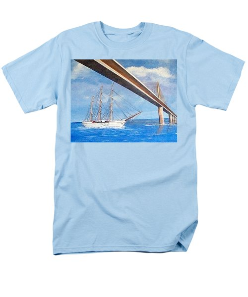 Sunshine Skyway Bridge  Men's T-Shirt  (Regular Fit) by Catherine Swerediuk