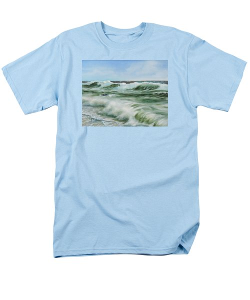 Men's T-Shirt  (Regular Fit) featuring the painting Surf At Castlerock by Barry Williamson