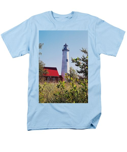 Men's T-Shirt  (Regular Fit) featuring the photograph Tawas Point Lighthouse...from Tawas Bay Side by Daniel Thompson