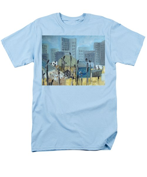 Men's T-Shirt  (Regular Fit) featuring the painting Tent City Homeless by Judith Rhue