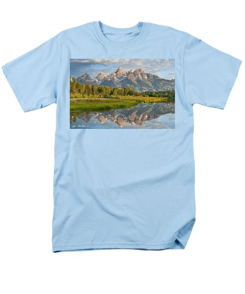 Men's T-Shirt  (Regular Fit) featuring the photograph Teton Range Reflected In The Snake River by Jeff Goulden