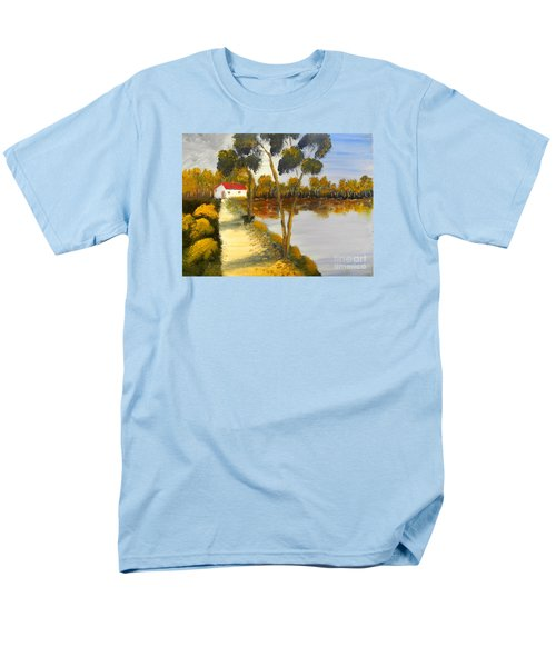 Men's T-Shirt  (Regular Fit) featuring the painting The Riverhouse by Pamela  Meredith