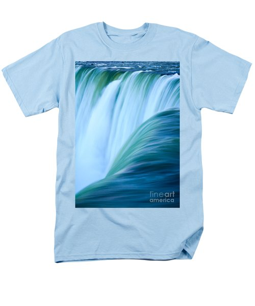 Men's T-Shirt  (Regular Fit) featuring the photograph Turquoise Blue Waterfall by Peta Thames