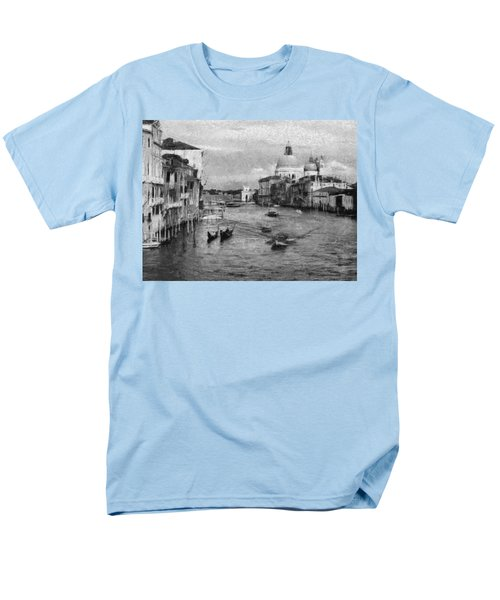 Men's T-Shirt  (Regular Fit) featuring the painting Vintage Venice Black And White by Georgi Dimitrov