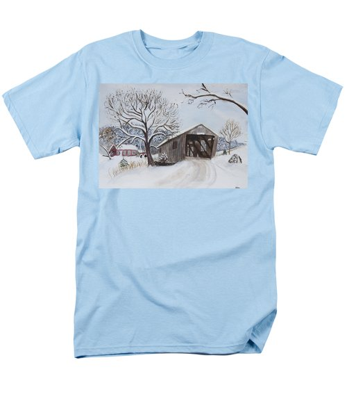 Men's T-Shirt  (Regular Fit) featuring the painting Vermont Covered Bridge In Winter by Donna Walsh
