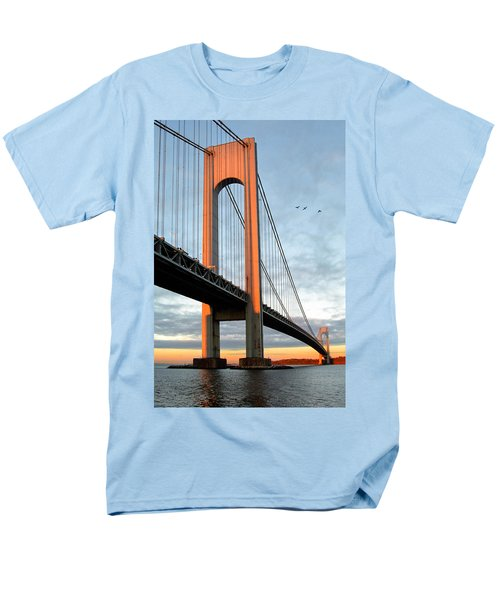 Verrazano Bridge At Sunrise - Verrazano Narrows Men's T-Shirt  (Regular Fit) by Gary Heller