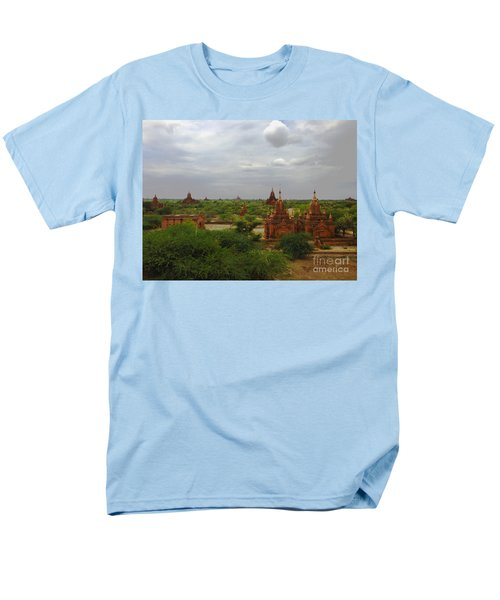Men's T-Shirt  (Regular Fit) featuring the photograph View Of Smaller Temples Next To Dhammayazika Pagoda Built In 1196 By King Narapatisithu Bagan Burma by Ralph A  Ledergerber-Photography