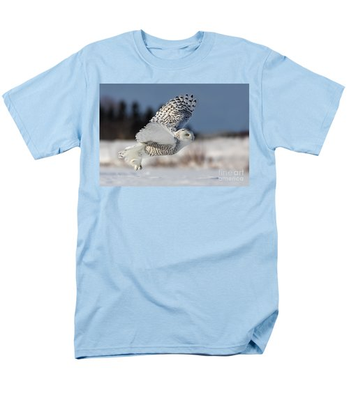 White Angel - Snowy Owl In Flight Men's T-Shirt  (Regular Fit) by Mircea Costina Photography