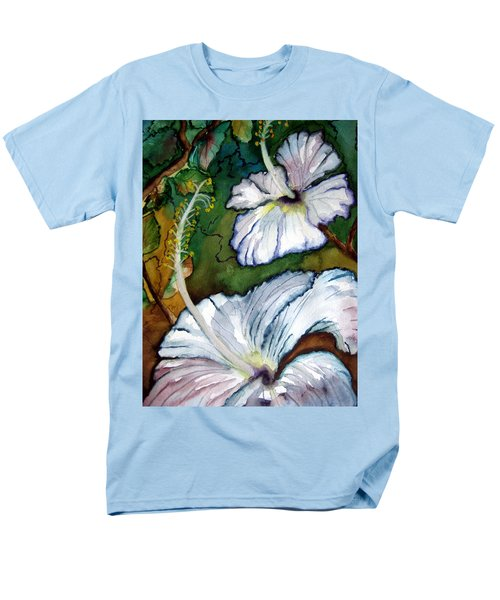 Men's T-Shirt  (Regular Fit) featuring the painting White Hibiscus by Lil Taylor