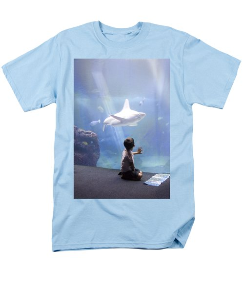 White Shark And Young Boy Men's T-Shirt  (Regular Fit) by David Smith