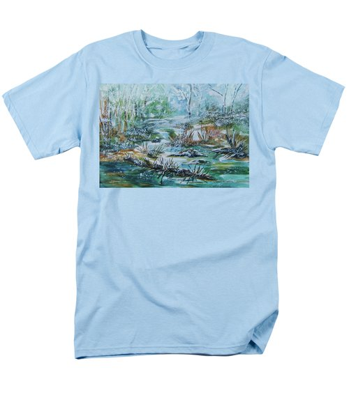 Men's T-Shirt  (Regular Fit) featuring the painting Winter Whispers On Catskill Creek by Ellen Levinson