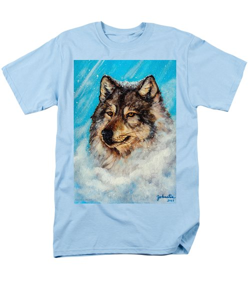 Men's T-Shirt  (Regular Fit) featuring the painting Wolf In A Snow Storm by Bob and Nadine Johnston