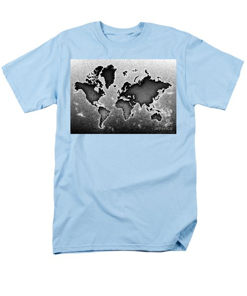 World Map Novo In Black And White Men's T-Shirt  (Regular Fit) by Eleven Corners