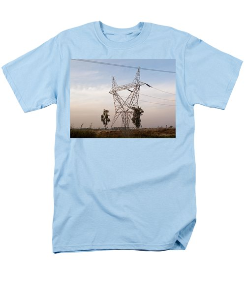 Men's T-Shirt  (Regular Fit) featuring the photograph A Transmission Tower Carrying Electric Lines In The Countryside by Ashish Agarwal
