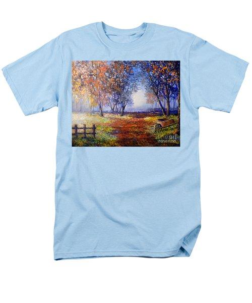 Autumn Wheelbarrow Men's T-Shirt  (Regular Fit) by Lou Ann Bagnall