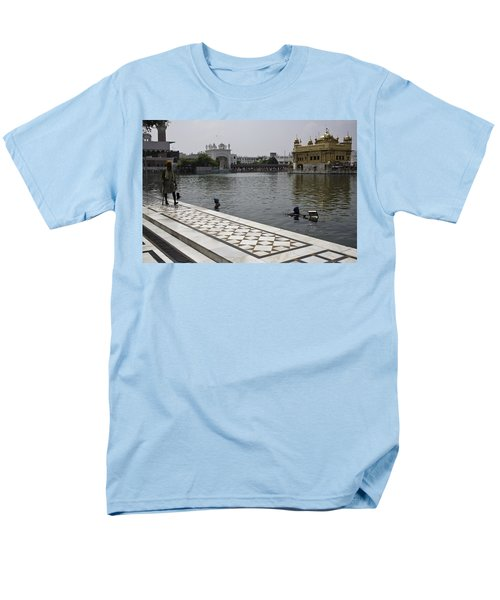 Men's T-Shirt  (Regular Fit) featuring the photograph Clearing The Sarovar Inside The Golden Temple Resorvoir by Ashish Agarwal