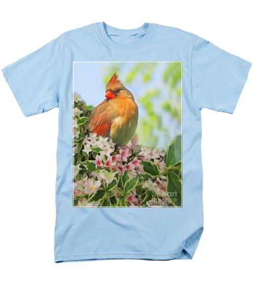 Men's T-Shirt  (Regular Fit) featuring the photograph Female Cardnial In Wegia Digital Art by Debbie Portwood