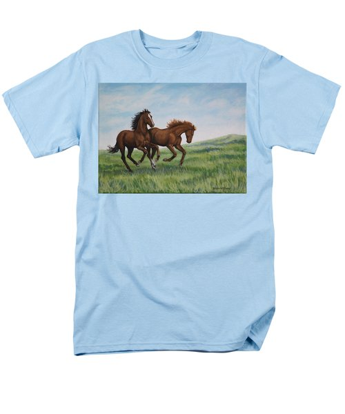 Men's T-Shirt  (Regular Fit) featuring the painting Galloping Horses by Penny Birch-Williams