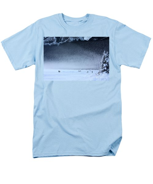 Men's T-Shirt  (Regular Fit) featuring the photograph Hockey On Lake Louise by Alyce Taylor
