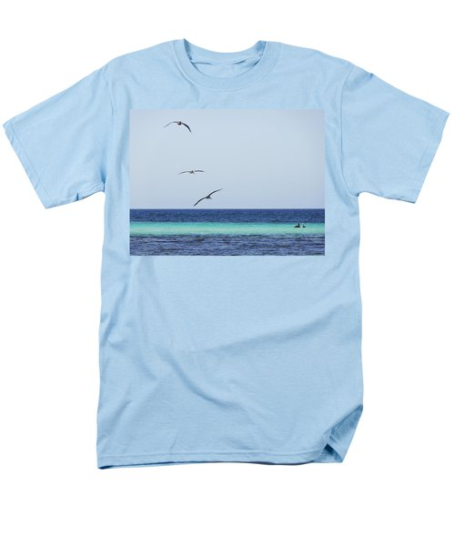 Pelicans In Flight Over Turquoise Blue Water.  Men's T-Shirt  (Regular Fit) by Anne Mott