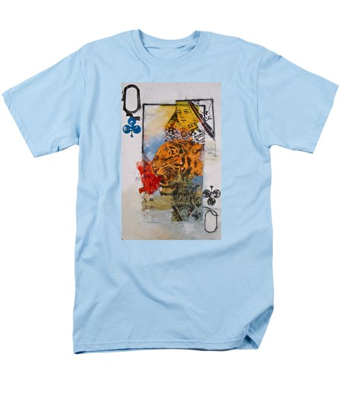 Men's T-Shirt  (Regular Fit) featuring the painting Queen Of Clubs 4-52  2nd Series  by Cliff Spohn