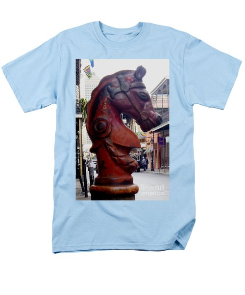 Men's T-Shirt  (Regular Fit) featuring the photograph Red Horse Head Post by Alys Caviness-Gober