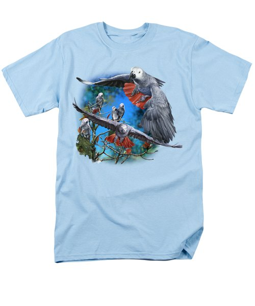 African Grey Parrots Men's T-Shirt  (Regular Fit) by Owen Bell