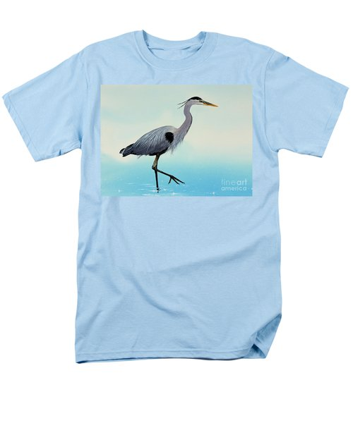 Men's T-Shirt  (Regular Fit) featuring the painting Blue Water Heron by James Williamson