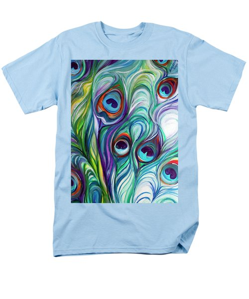 Feathers Peacock Abstract Men's T-Shirt  (Regular Fit) by Marcia Baldwin