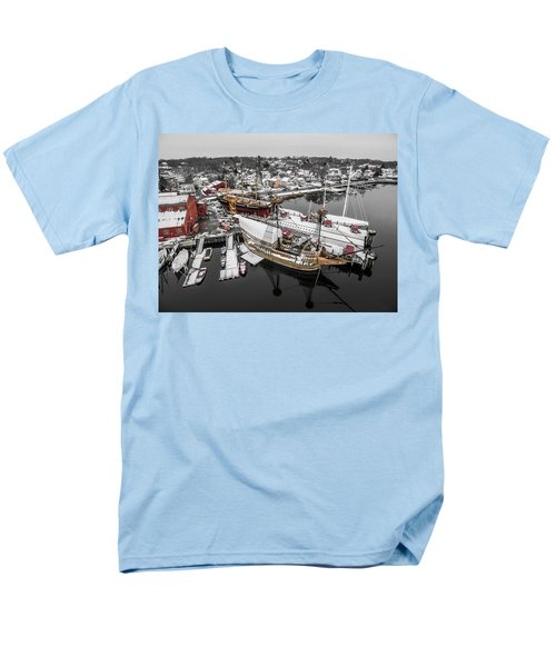 Mystic Seaport In Winter Men's T-Shirt  (Regular Fit) by Petr Hejl