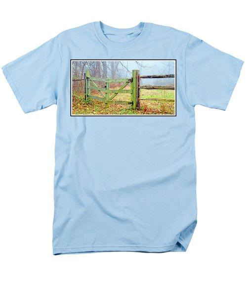 Wooden Fence On A Foggy Morning Men's T-Shirt  (Regular Fit) by A Gurmankin